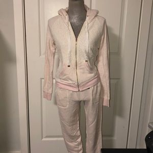 Juicy Sweatsuit top and bottom, pink size s